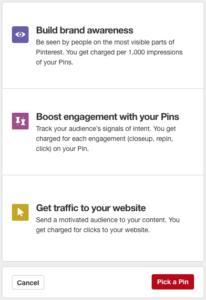 Objetivos para crear tu campaña en Pinterest